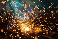 Welding sparks from a MIG welder
