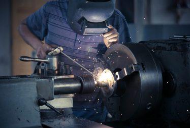 Industrial welder welding